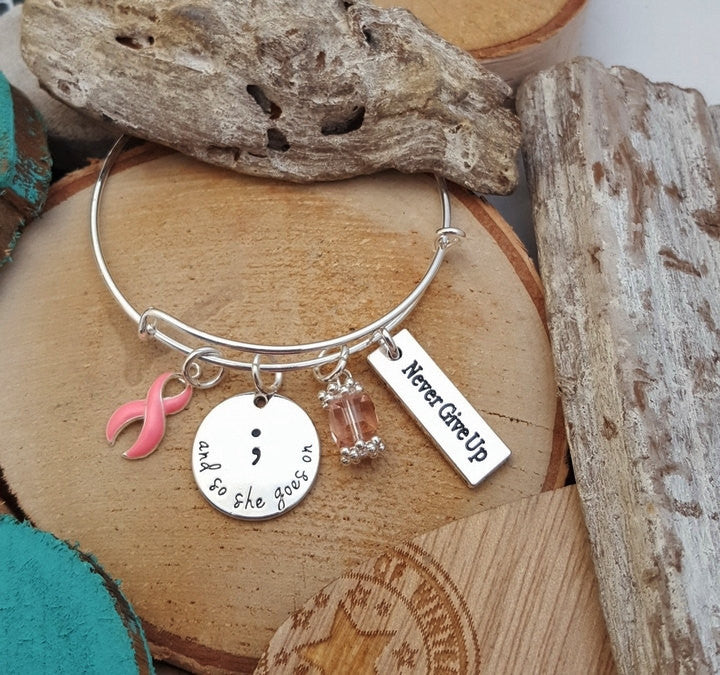PI-1 Breast Cancer Awareness Jewelry And So She Goes On Semicolon Bracelet