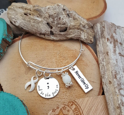 WH-1 Lung Cancer Awareness So She Goes On Semicolon Bracelet Osteoporosis