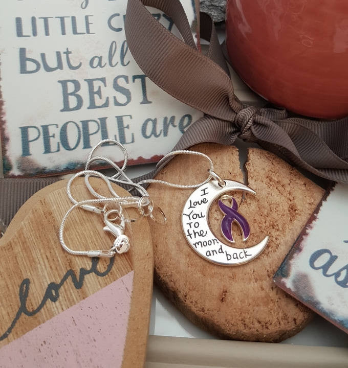DP-2 Cystic Fibrosis Awareness Necklace I Love You To The Moon & Back Alzheimers Pancreatic Cancer