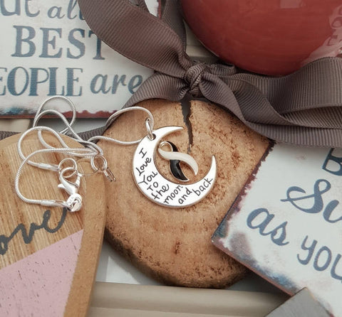 BW-5 Ehlers Danlos CVID EDS Awareness Necklace I Love You To The Moon & Back