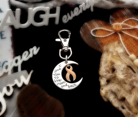 PE-3 Endometrial Cancer Uterine Cancer Awareness Keychain Love You To The Moon & Back