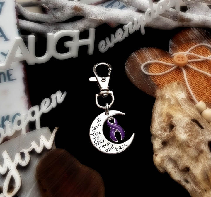 DP-3 Ulcerative Colitis Crohns Disease Awareness Keychain Love You To The Moon & Back
