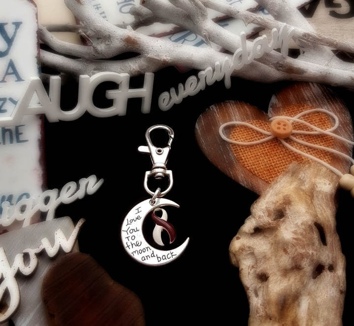 BY-6 Head Neck Cancer Oral Cancer Awareness Keychain Love You To The Moon & Back