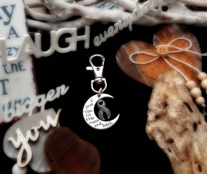 GR-3 Brain Cancer Brain Tumor Awareness Keychain Love You To The Moon & Back