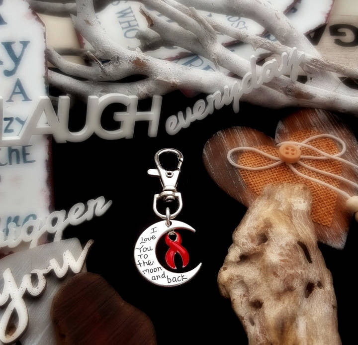 RE-3 Stroke Awareness Heart Disease Awareness Keychain Love You To The Moon & Back
