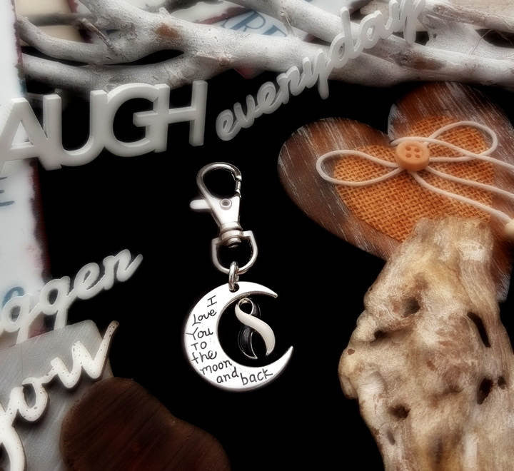 BW-6 Ehlers Danlos EDS Awareness CVID Keychain Love You To The Moon & Back