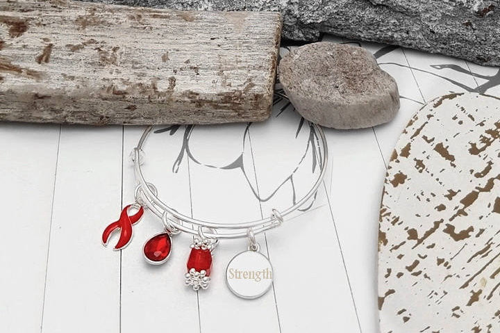 RE-1 Heart Disease Stroke Survivor Stroke Awareness Bracelet - Tear Drop Edition
