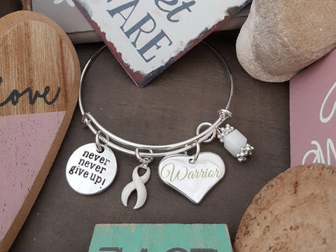 WH-1 Lung Cancer Awareness Violence Against Woment Never Give Up Warrior Bracelet