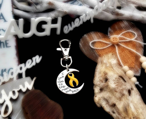 YE-3 Sarcoma Endometriosis Spina Bifida Awareness Keychain Love You To The Moon & Back
