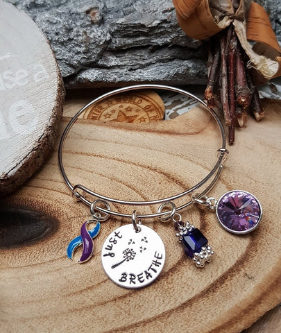 TP-4 Pediatric Stroke Child Stroke Awareness Dandelion Bracelet Just Breathe Jewelry