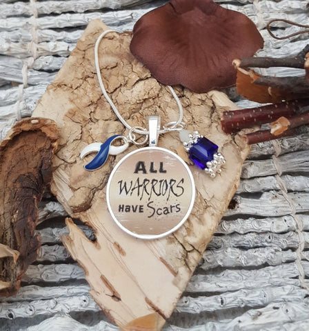 BLW-5 ALS Awareness Necklace Colon Cancer Survivor All Warriors Have Scars Necklace