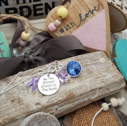 LP-2 Eating Disorder Stomach Cancer Unicorn Necklace Awareness Jewelry