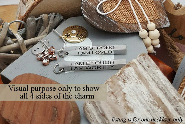 FN I Am Enough Necklace Long Bar Semicolon Jewelry Mother Daughter Sister