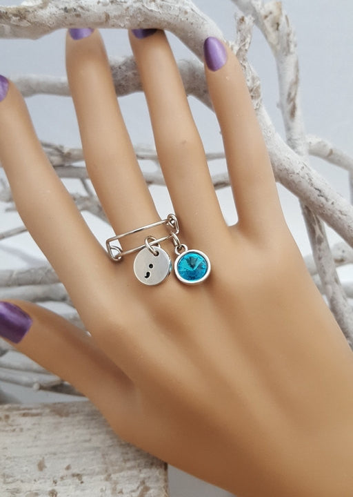 TE-6 Cervical Cancer Awareness Ovarian Cancer PCOS Jewelry Semicolon Adjustable Ring