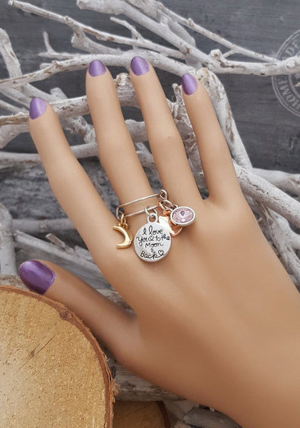 FN I Love You To The Moon & Back Adjustable Birthstone Charm Ring