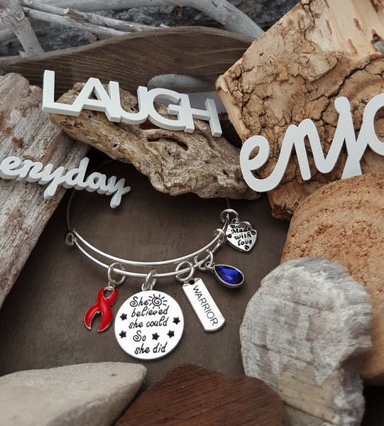 RE-1 AIDS HIV Awareness Sobriety Jewelry Bracelet She Believed She Could So She Did