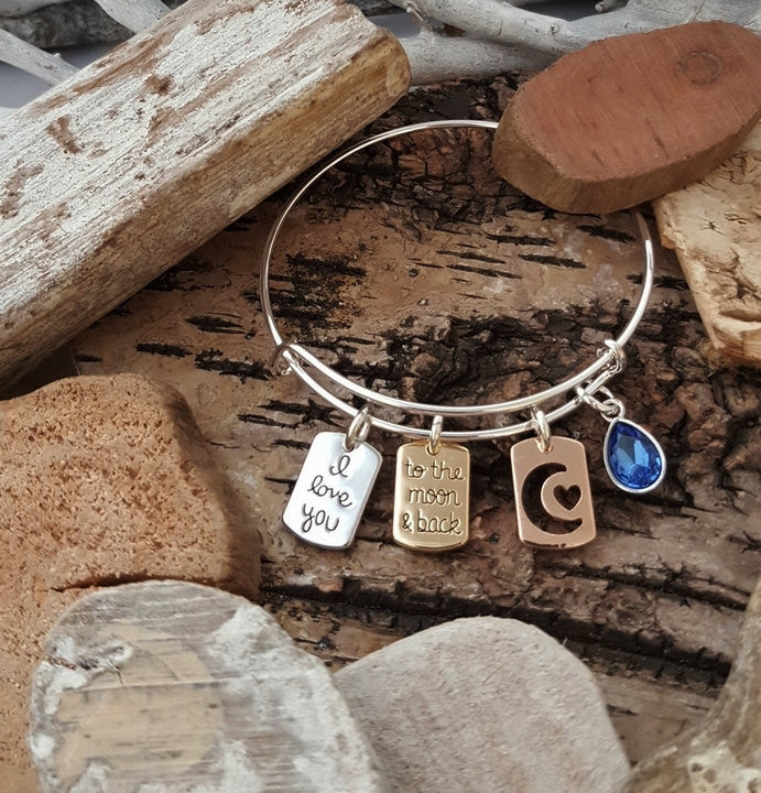 FN I Love You To The Moon & Back Bracelet Anniversary Gift For Wife