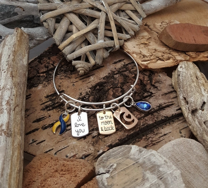 YB-4 Down Syndrome Awareness Awareness Jewelry I Love You To The Moon & Back Bracelet