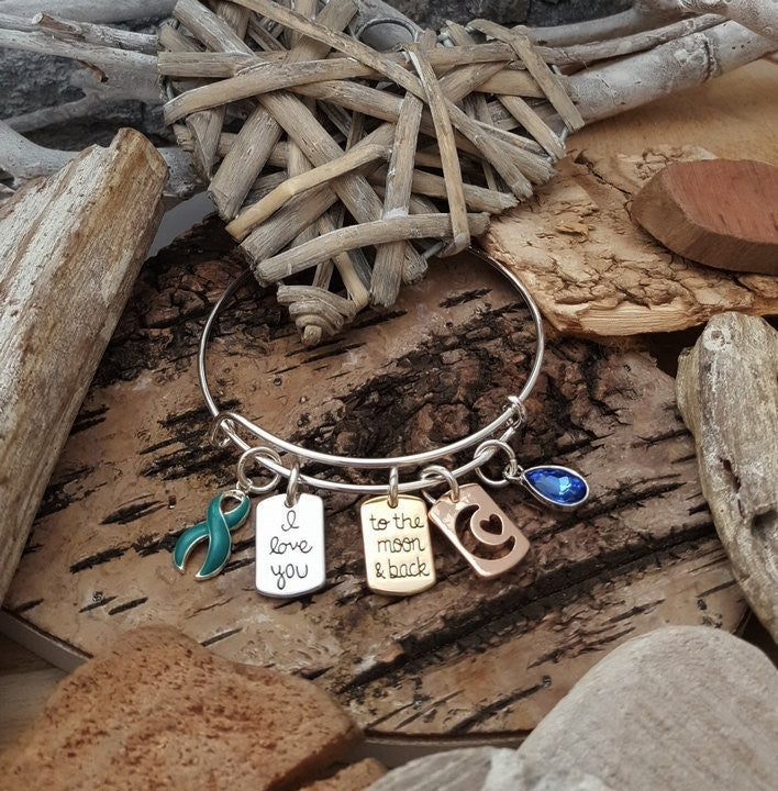 YB-4 Sexual Assault PTSD Awareness Jewelry I Love You To The Moon & Back Bracelet