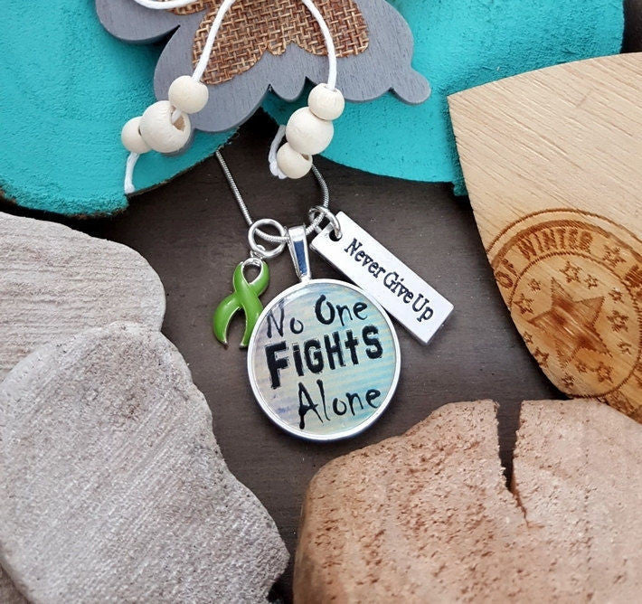 LG-2  Lung Transplant Lyme Disease Gastroparesis Awareness Necklace No One Fights Alone