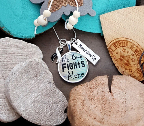 BW-5 CVID Ehlers Danlos Endocrine Cancer EDS Awareness Necklace No One Fights Alone