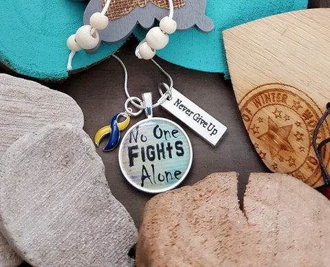 YB-5 Down Syndrome Awareness Necklace No One Fights Alone