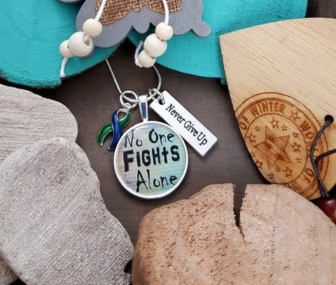 GB-5 IIH Awareness Intracranial Hypertension Necklace No One Fights Alone