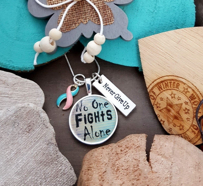 PB-5 Miscarriage Pregnancy Loss Infant Loss Stillborn SIDS Awareness Necklace No One Fights Alone