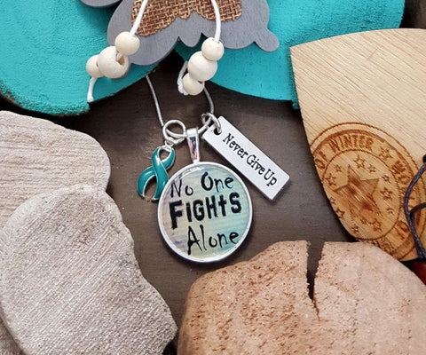 TE-2 PCOS Awareness Cervical Cancer Ovarian Cancer Tourettes Necklace No One Fights Alone