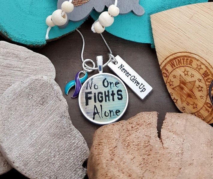 TP-5 Suicide Prevention Domestic Violence Sexual Assault Awareness Necklace No One Fights Alone