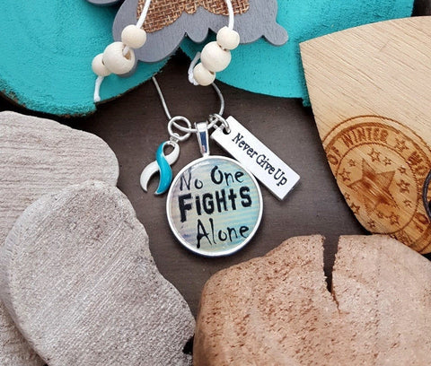 TW-5 Eating Disorder Recovery Jewelry Awareness Necklace No One Fights Alone