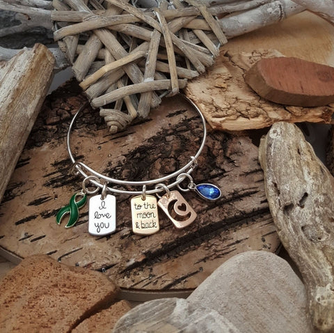 WH-1 Cerebral Palsy TBI Awareness Scoliosis Awareness Jewelry I Love You To The Moon & Back Bracelet