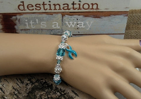 TE-4 Cervical Cancer Ovarian Cancer PCOS Awareness Jewelry Beaded Bracelet