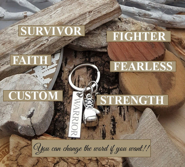 GR-3 Brain Cancer Brain Tumor BPD Disorder Awareness FIGHTER Keychain Boxing Glove