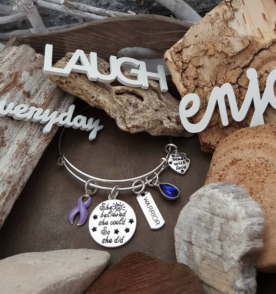 LP-1 Stomach Cancer Esophageal Cancer Awareness Bracelet She Believed She Could So She Did