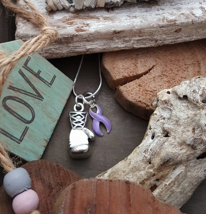 LP-2 Epilepsy Hodgkins Lymphoma Awareness Testicular Cancer Boxing Glove Necklace Keep Fighting