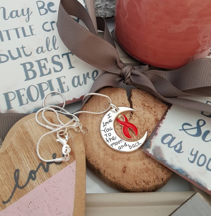 RE-2 Stroke Awareness Heart Disease Necklace I Love You To The Moon & Back