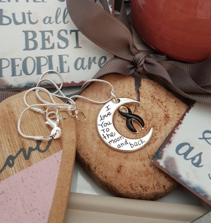 BL-2 Melanoma Narcolepsy Awareness Necklace I Love You To The Moon & Back