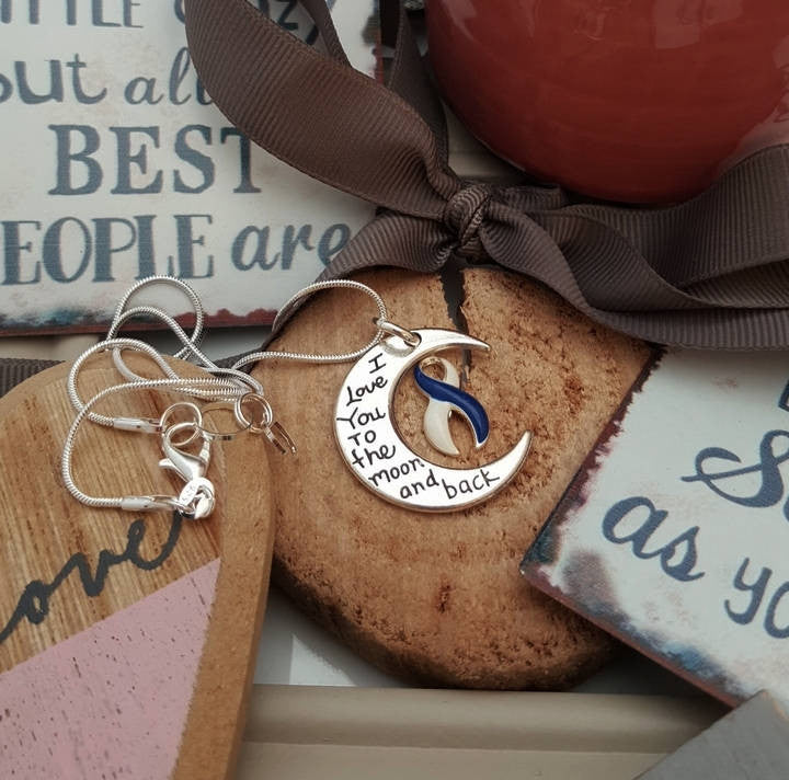 BLW-5 ALS Awareness Colon Cancer Survivor Necklace I Love You To The Moon & Back