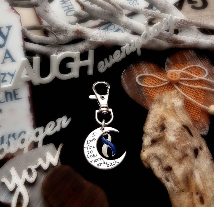 BLW-6 ALS Awareness  Colon Cancer Survivor Keychain Love You To The Moon & Back