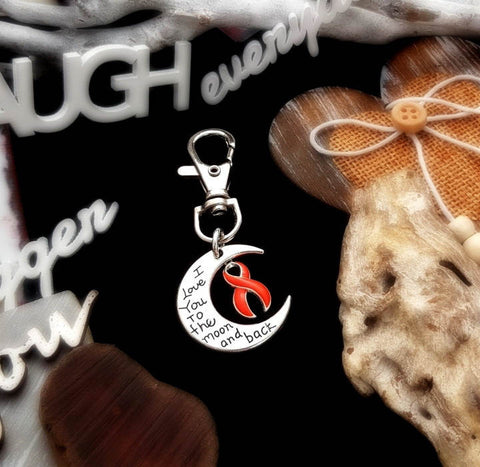 RO-3 Leukemia MS Awareness RSD Awareness Keychain Love You To The Moon & Back