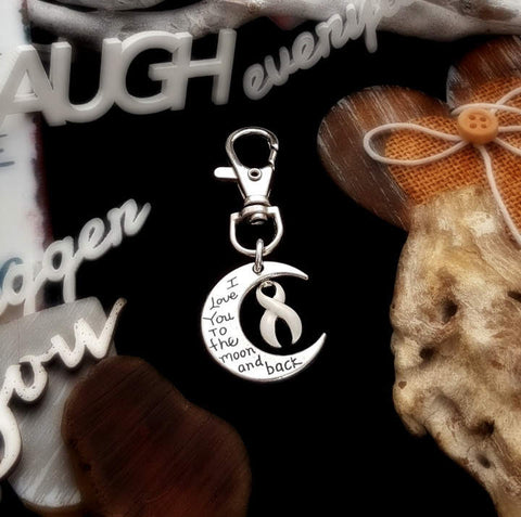 WH-3 Lung Cancer Awareness Osteroporosis Keychain Love You To The Moon & Back
