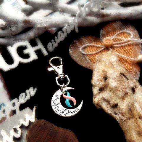 PB-6 Miscarriage Child Loss Infant Loss Awareness Keychain Love You To The Moon & Back