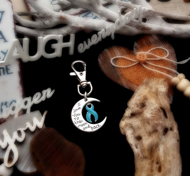 LB-3 Prostate Cancer Anorexia Awareness Keychain Love You To The Moon & Back