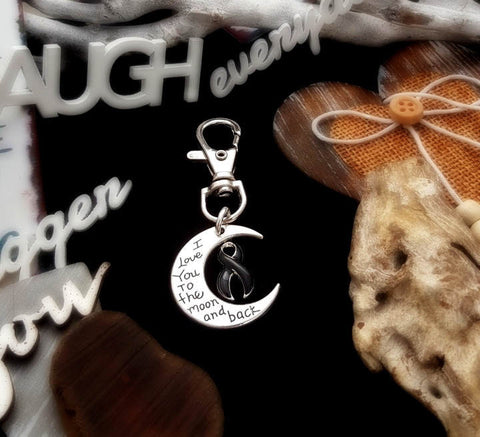BL-3 Narcolepsy Melanoma Awareness Keychain I love You To The Moon & Back