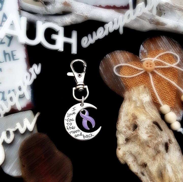 LP-3 Eating Disorder Stomach Cancer Awareness Keychain Love You To The Moon & Back
