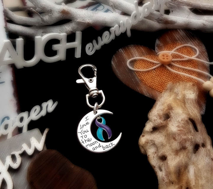 TP-6 Domestic Violence Sexual Assault Awareness Keychain Love You To The Moon & Back