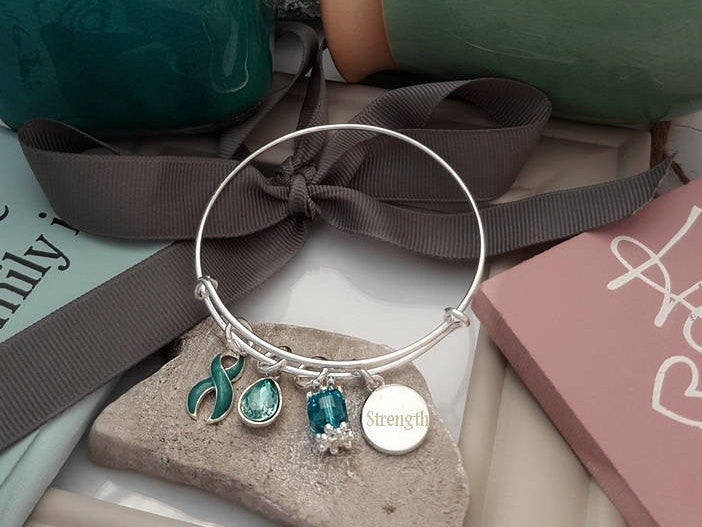 TE-1 Cervical Cancer Ovarian Cancer Tourettes PCOS Awareness Bracelet - Tear Drop Edition