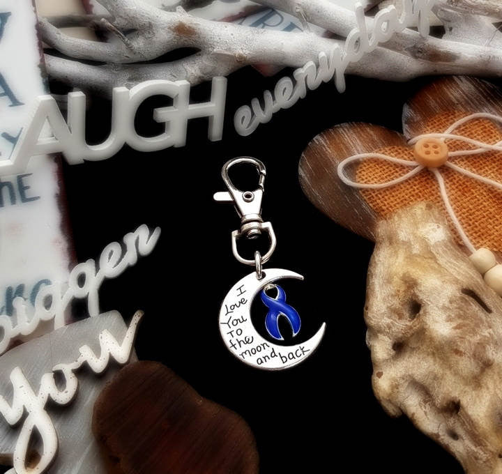 DB-3 Colon Cancer SPD Disorder Awareness Keychain Love You To The Moon & Back