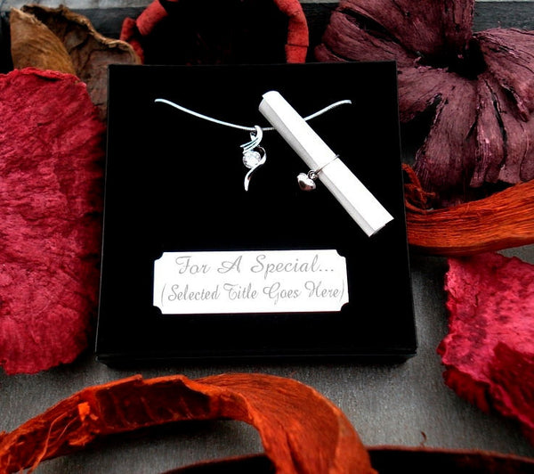 WN Crystal Drop Necklace Gift For Bridesmaid Maid Of Honor Matron Junior Poem/Box